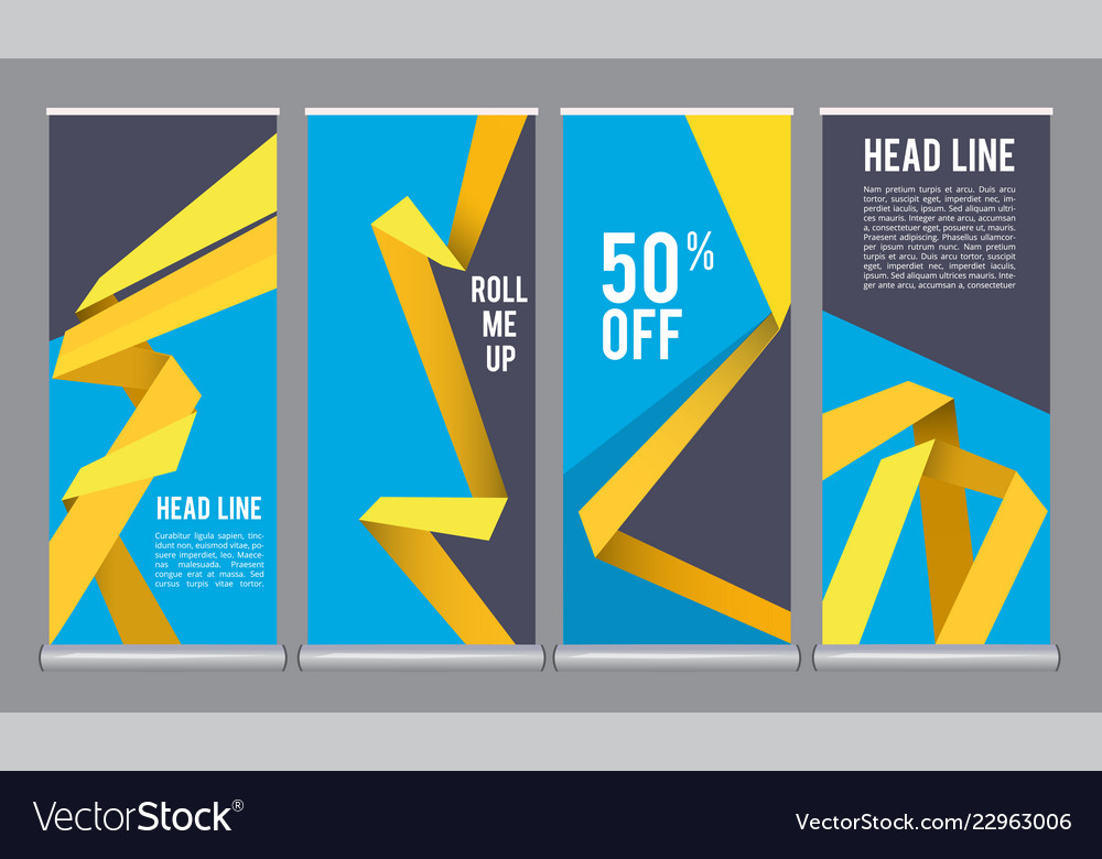 Vertical banners template mall roll up office