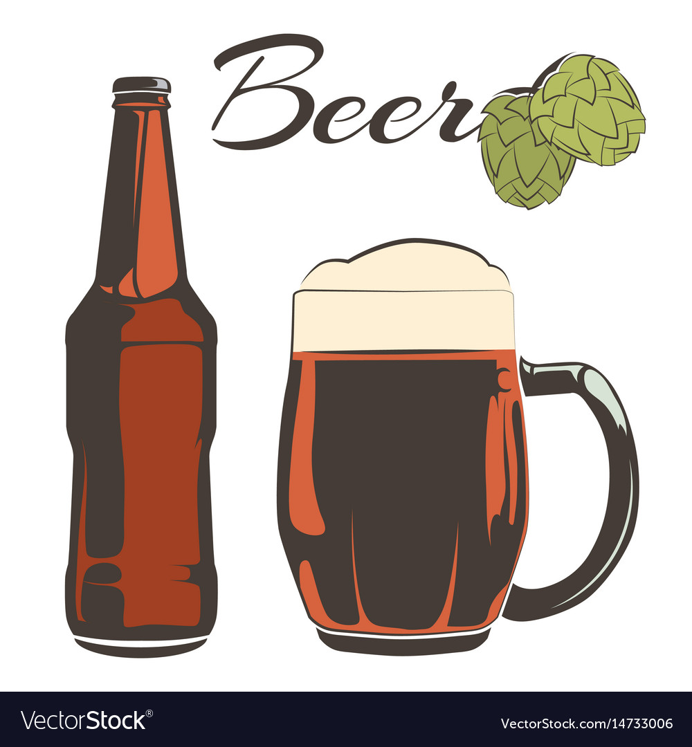 Vintage beer set - bottle and goblet with hops