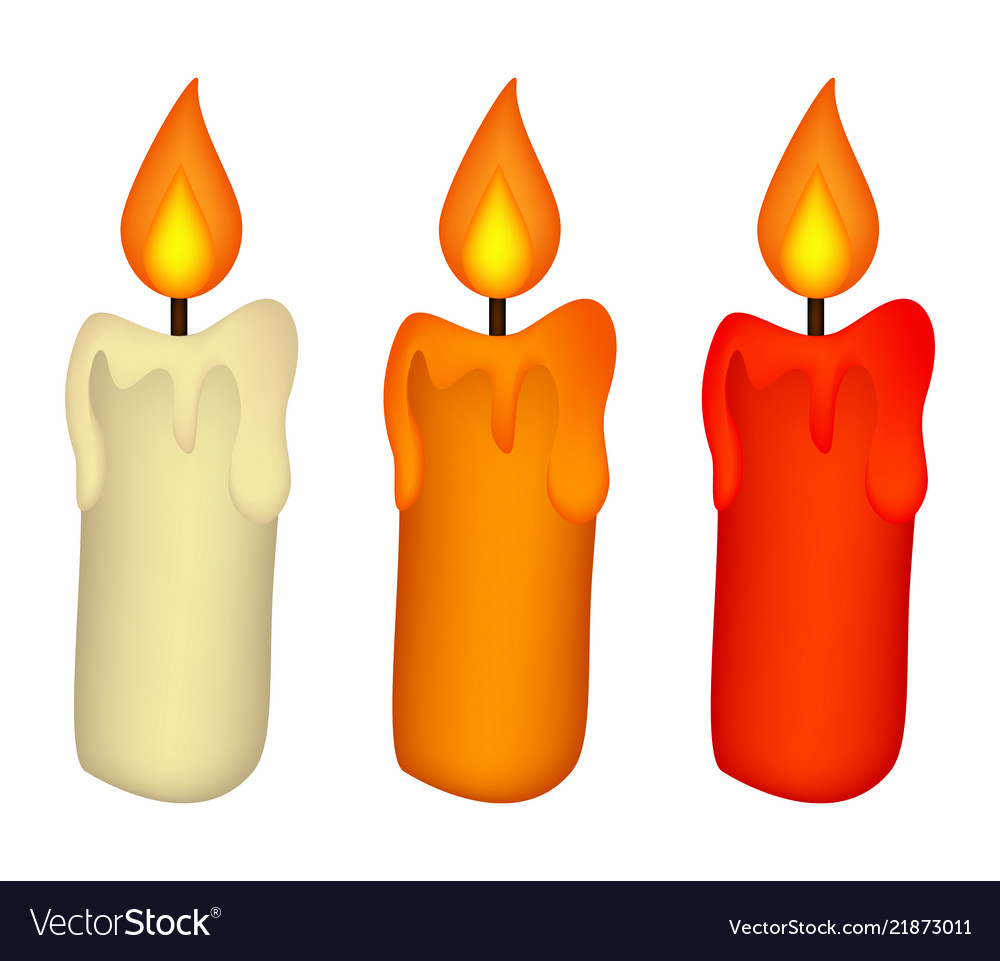 Christmas candle set burning wax candle icon