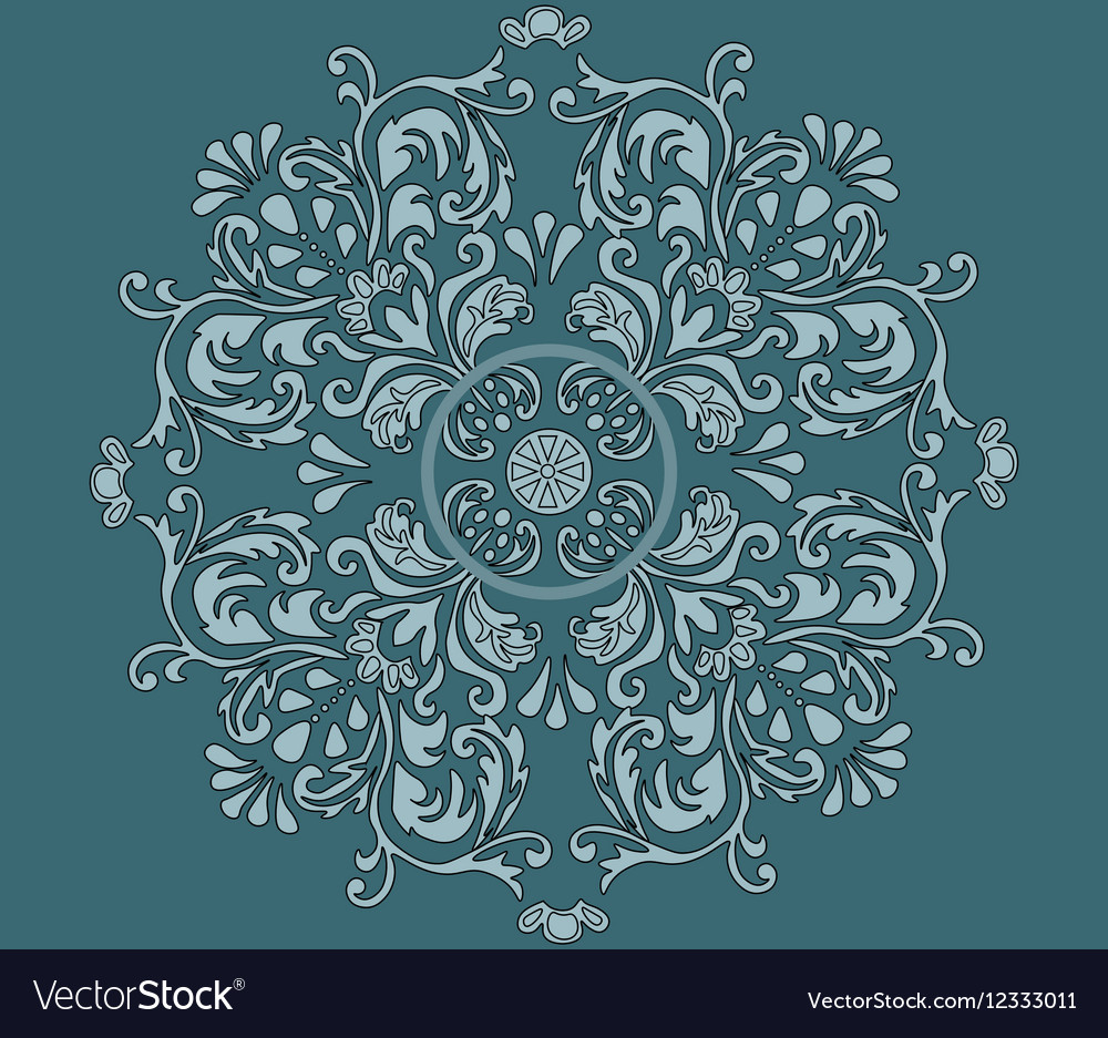 Classic style circular ornament isolated