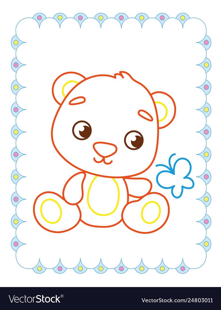 Coloring book of cute brown animal bear