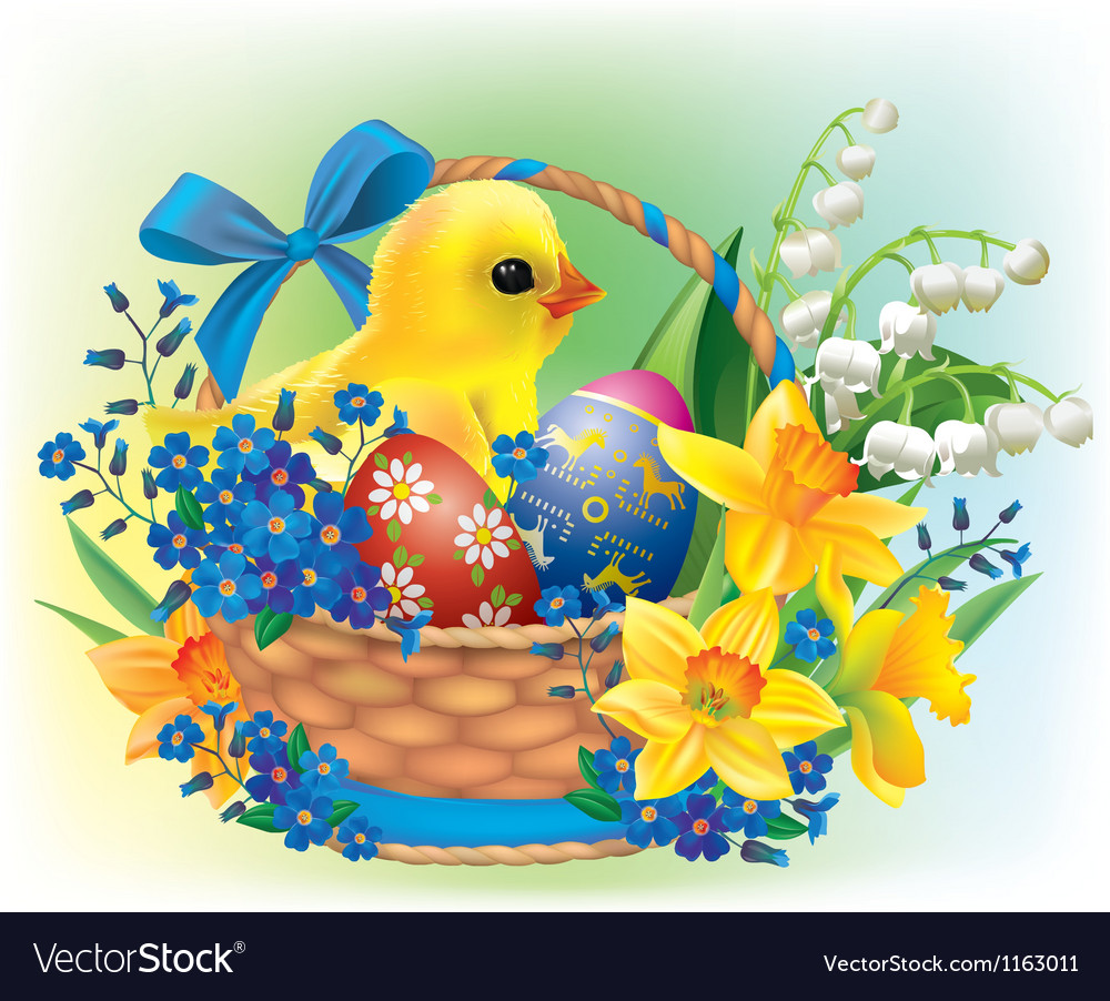 Easter basket with a baby chick