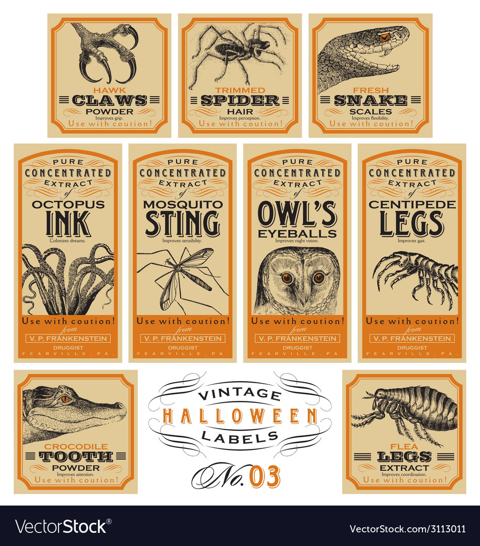Funny vintage Halloween apothecary labels - set 03