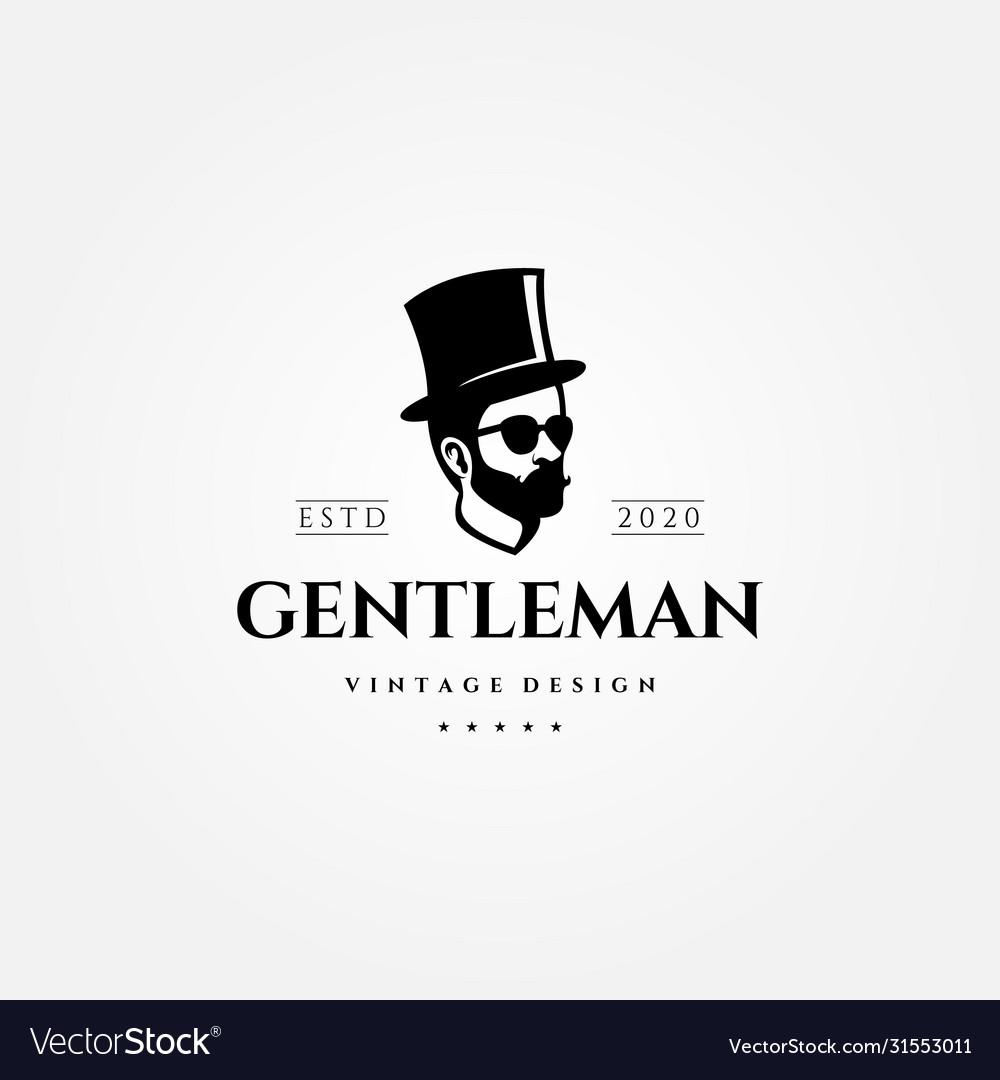 Gentleman vintage logo man with hat design