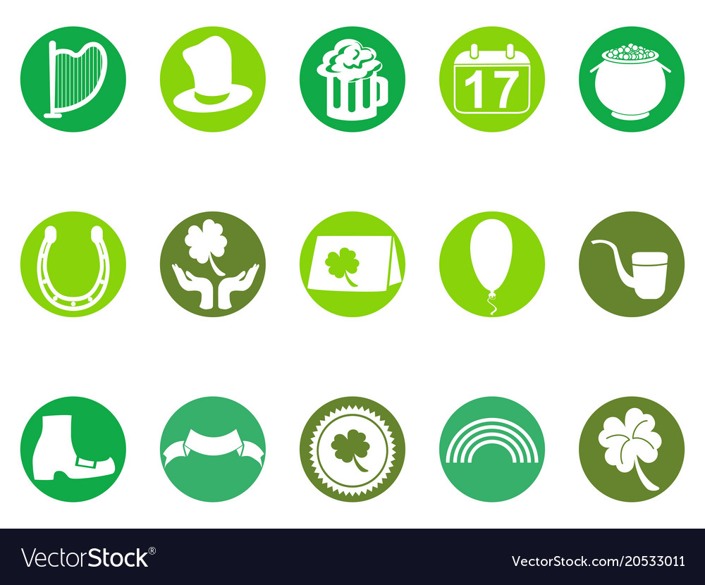 Green round st patricks day button icons set vector image