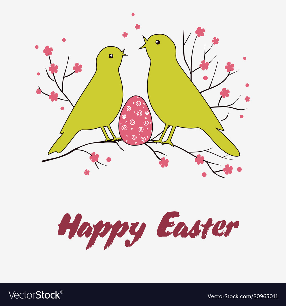 Greeting card or for easter with two birds and