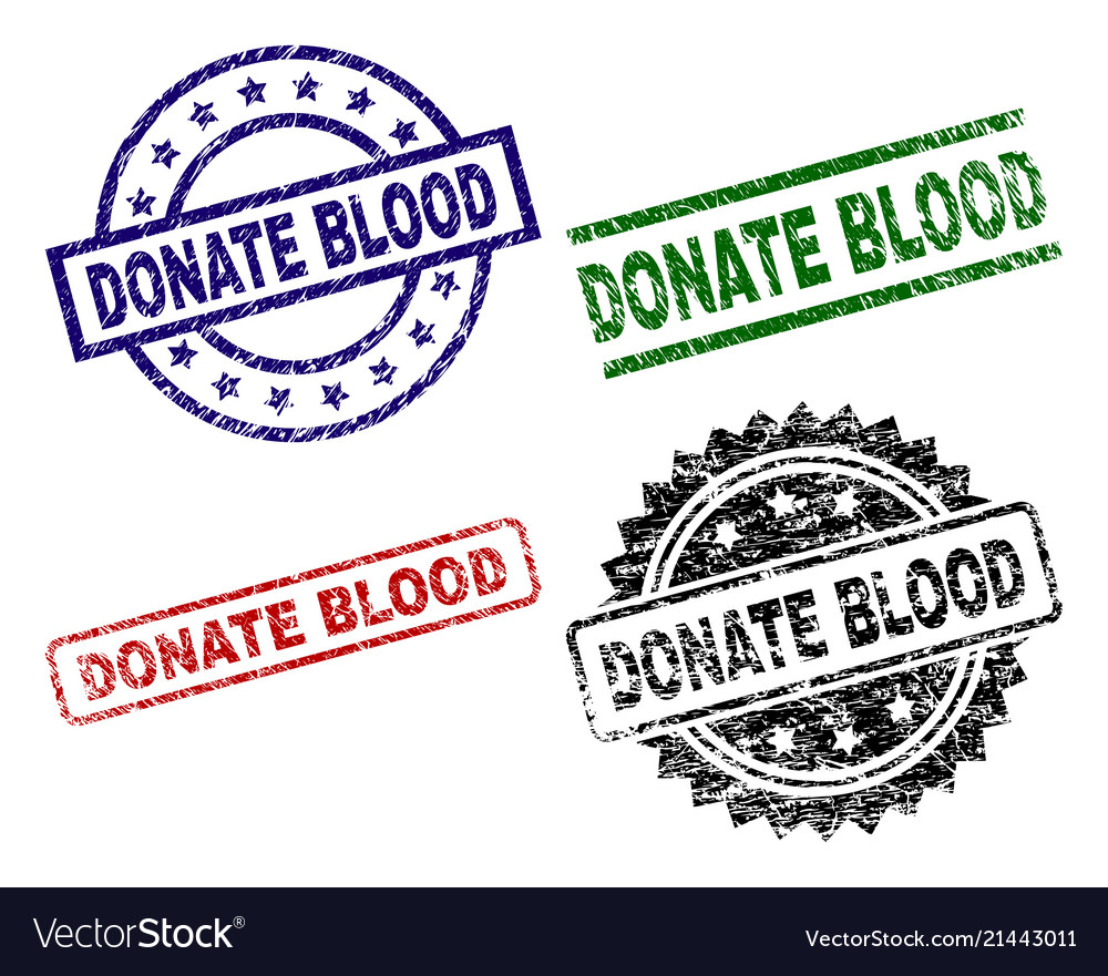 Grunge textured donate blood seal stamps
