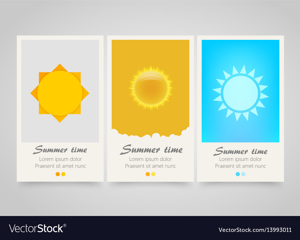 Modern colorful vertical sun banners summer flyer vector image