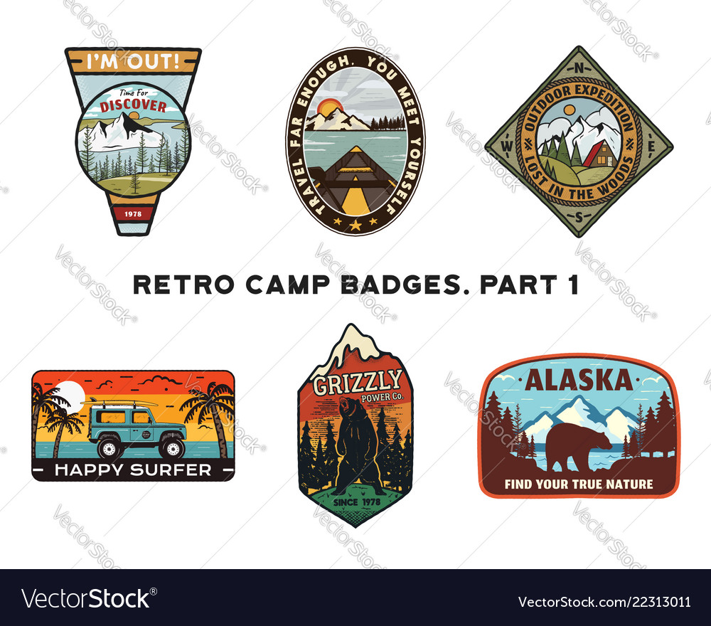 Set of retro wanderlust logos emblems vintage