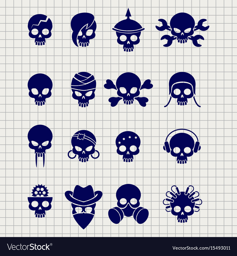 Skull icons on notebook page
