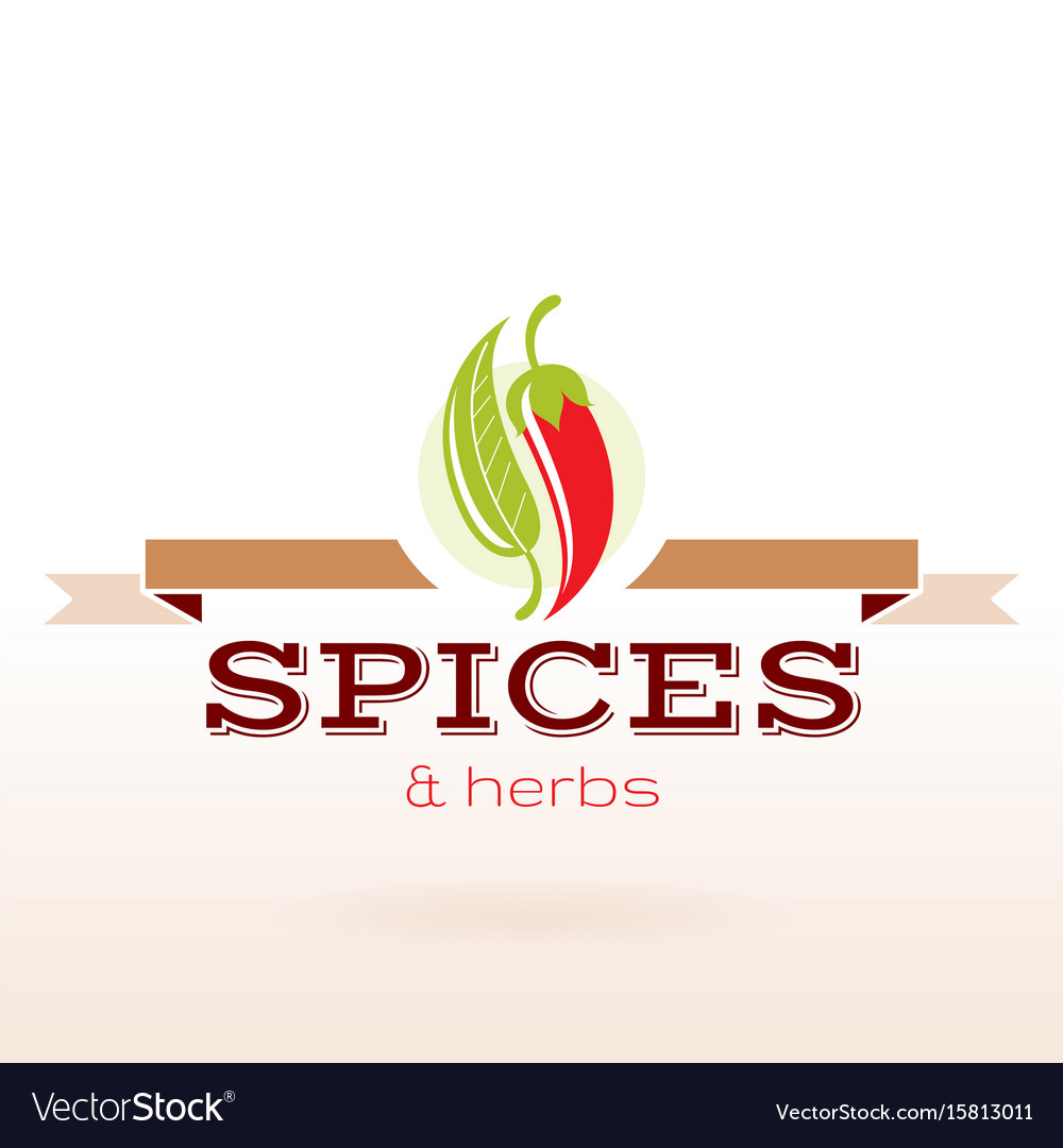 Spices and herbs logo text lettering flat modern vector image
