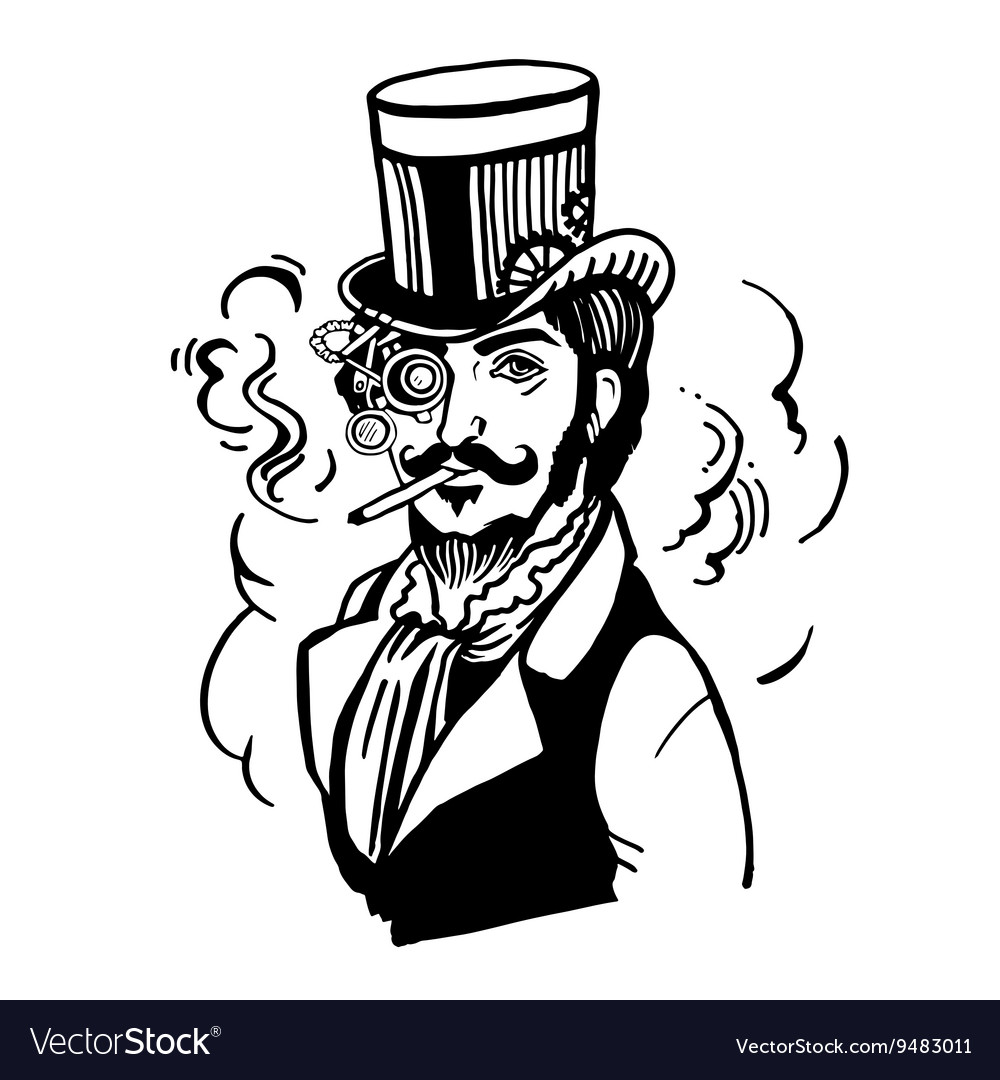 4e6115d370da18 Steampunk man in top hat and glasses with the Vector Image