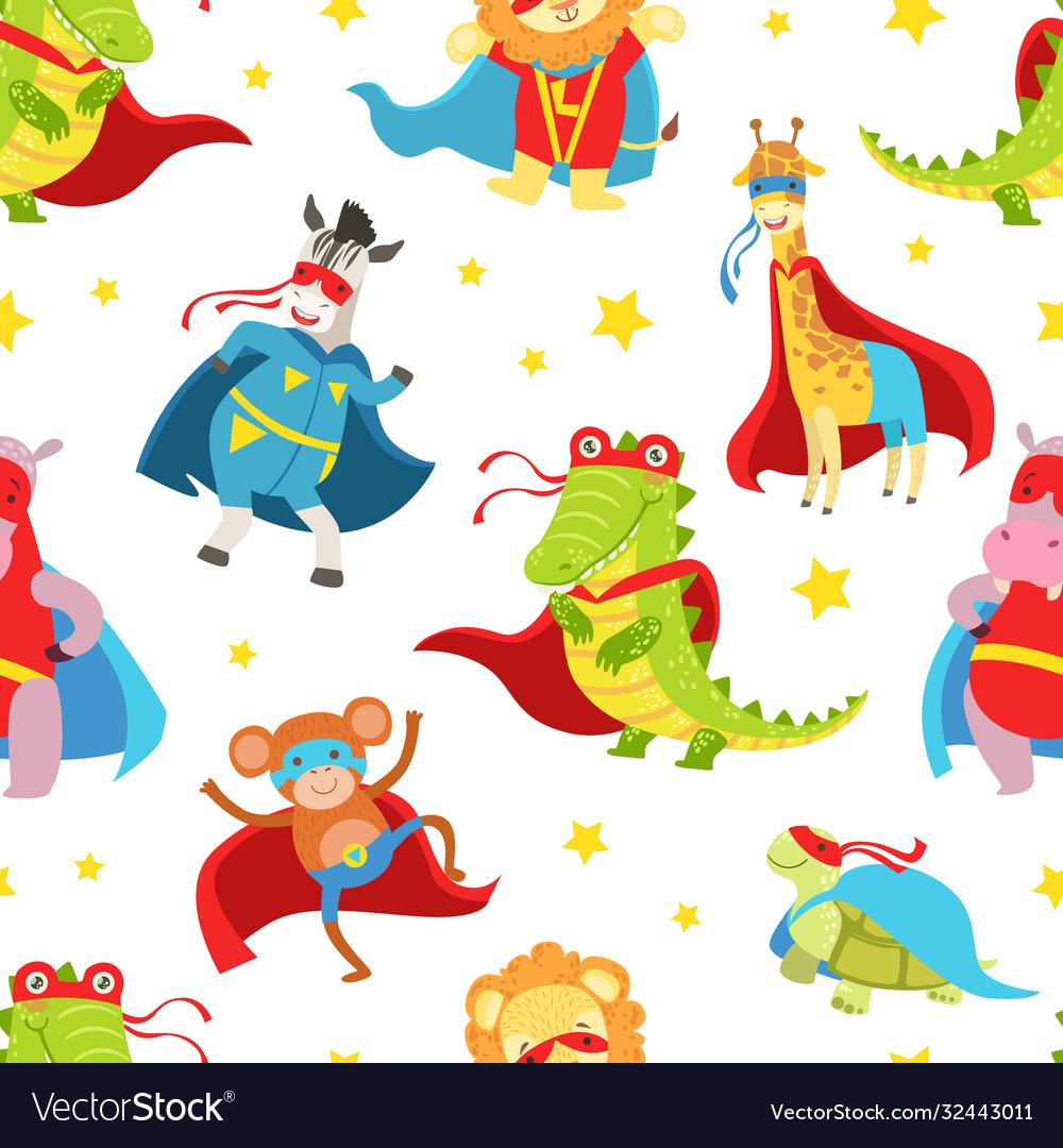 Superhero animals seamless pattern cute baby