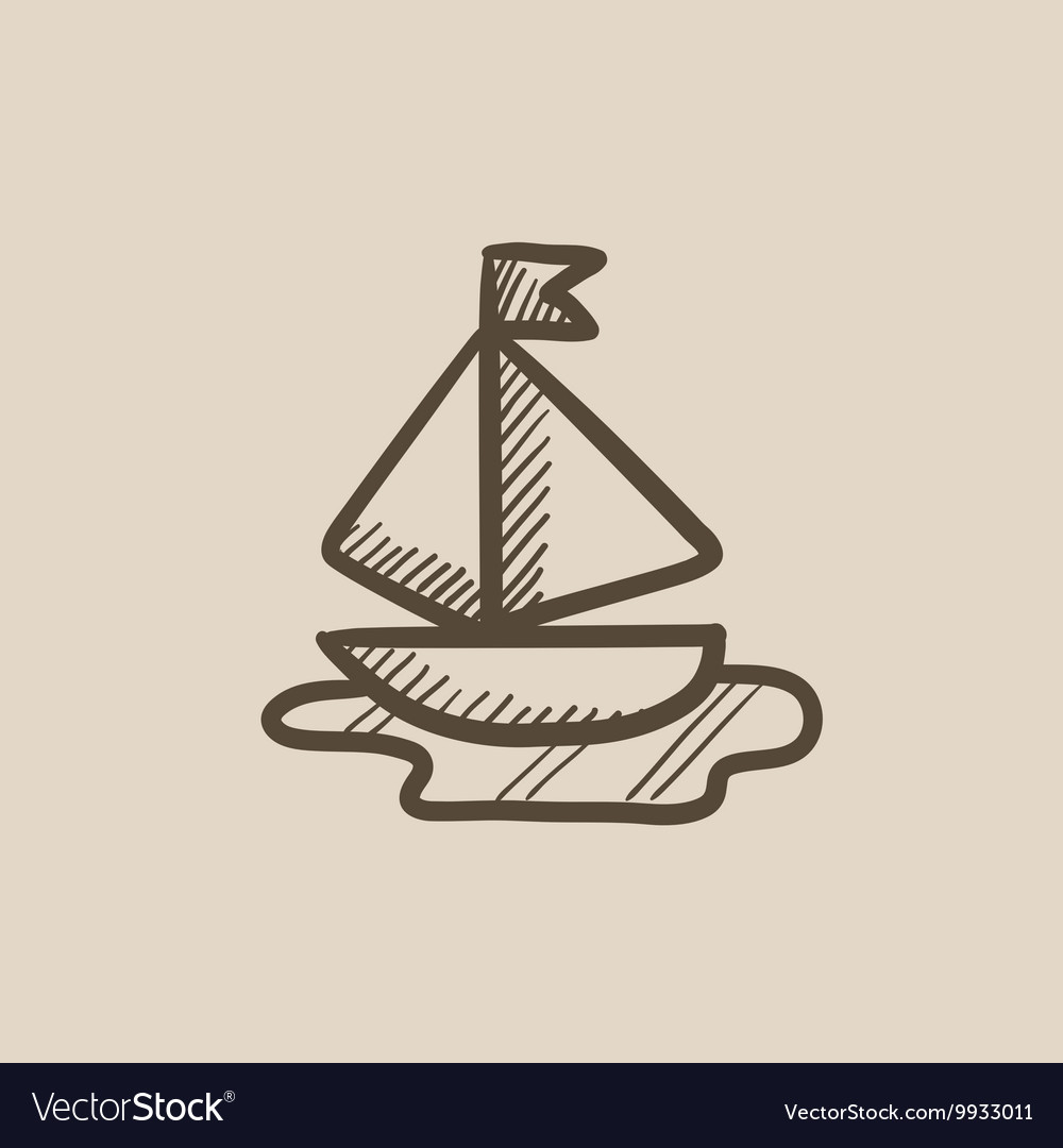 Toy model of ship sketch icon