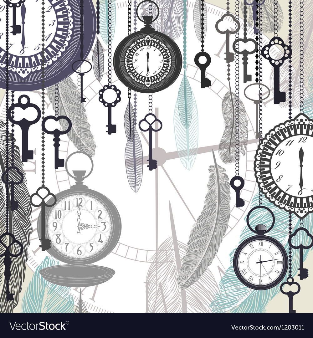 Vintage background with pocket watches and