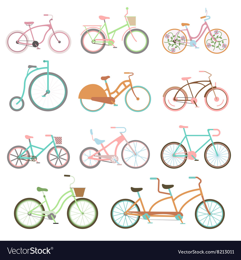 Vintage bicycle set riding bike transport flat