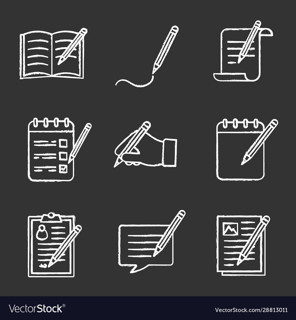 https www vectorstock com royalty free vector writing with pencil chalk icons set vector 28813011