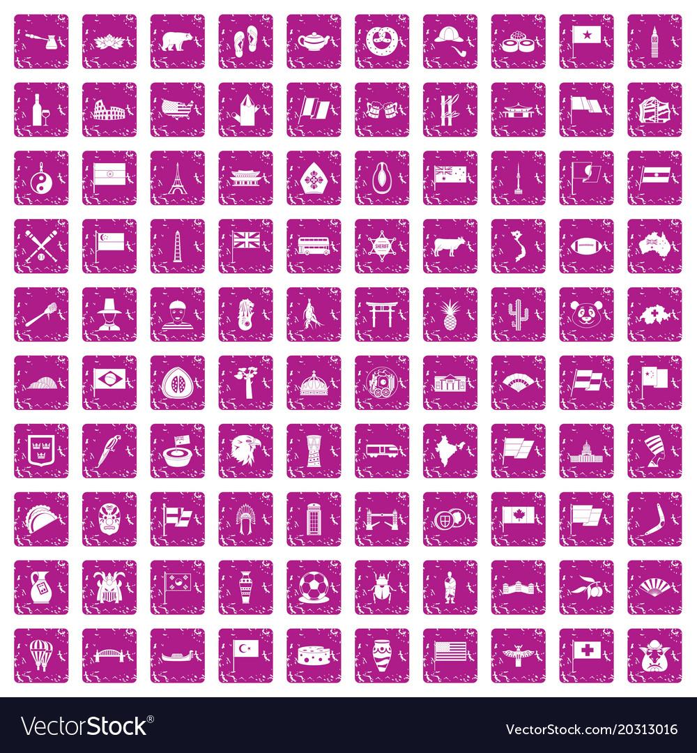 100 national flag icons set grunge pink