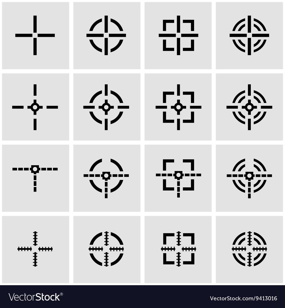 Black crosshair icon set