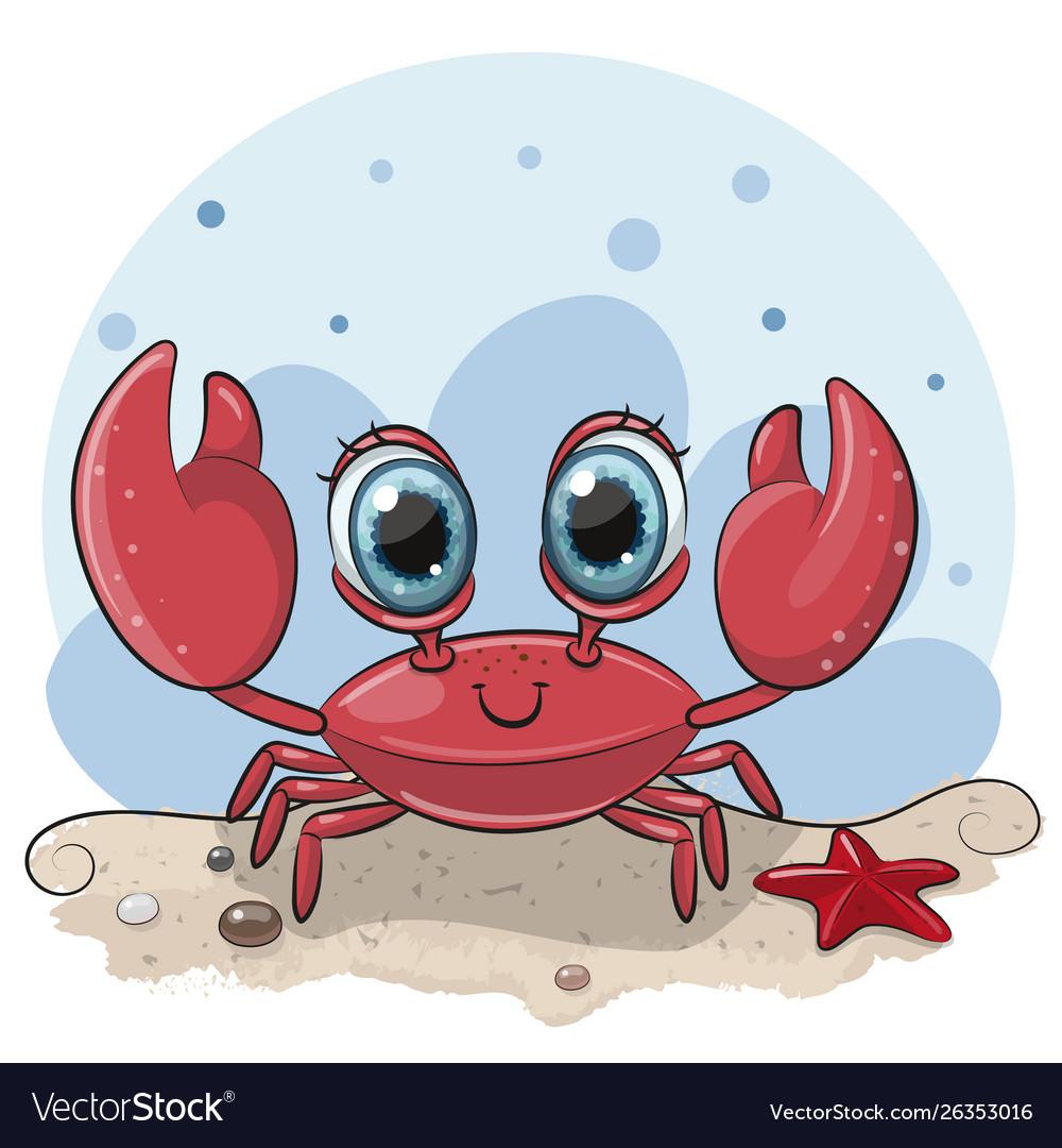 Cartoon crab on beach
