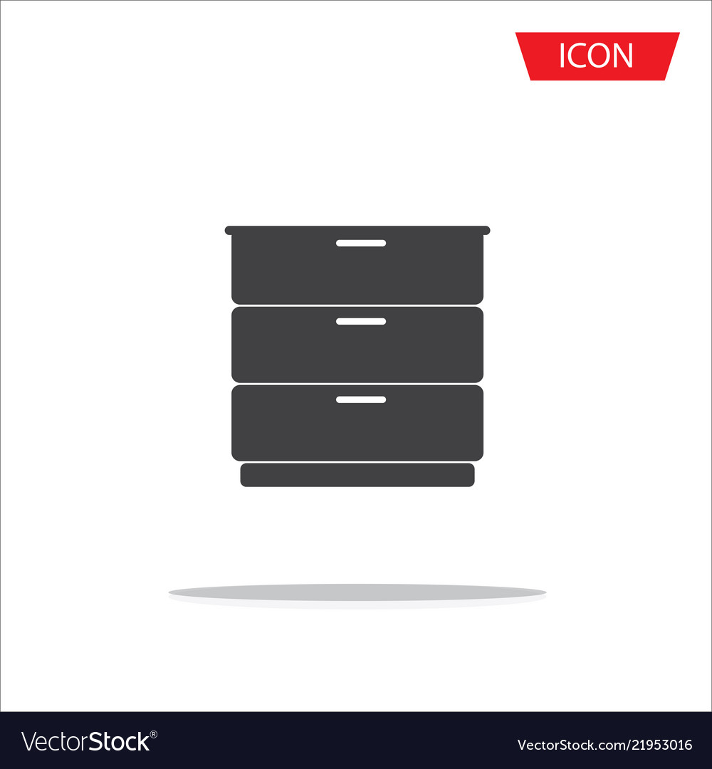 Drawer icon isolated on white background