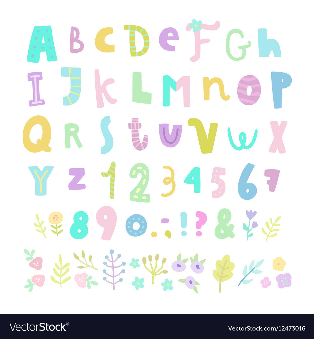 Funny font Letters numbers and flowers