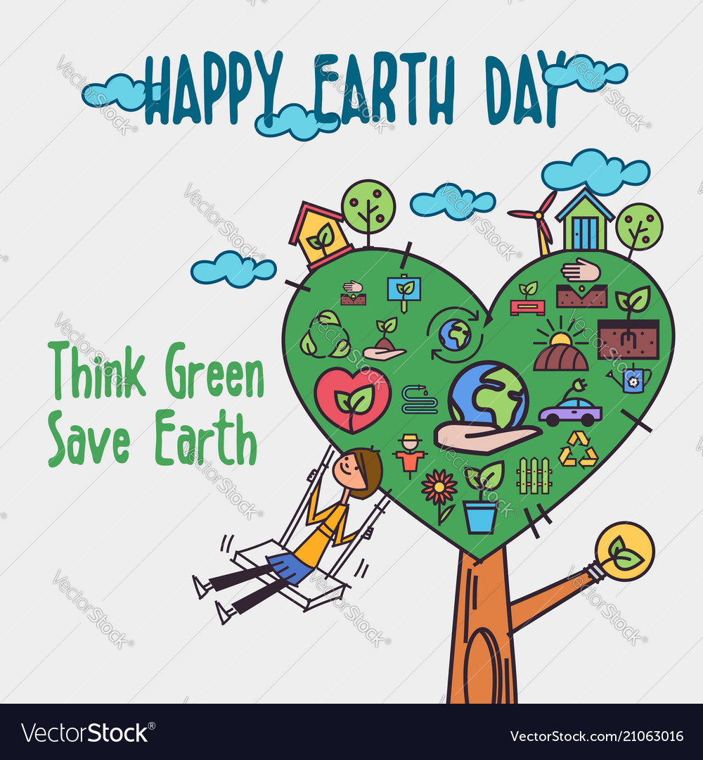 Happy earth day concept concept