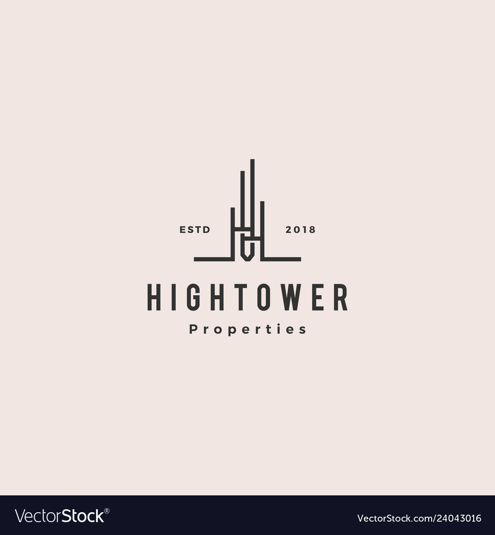 High building tower logo hipster vintage retro