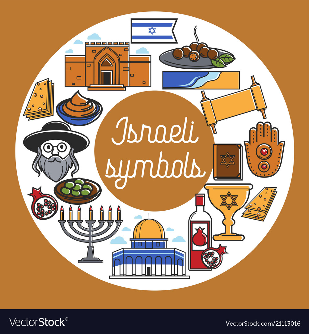Israeli symbols with cultual and architectural