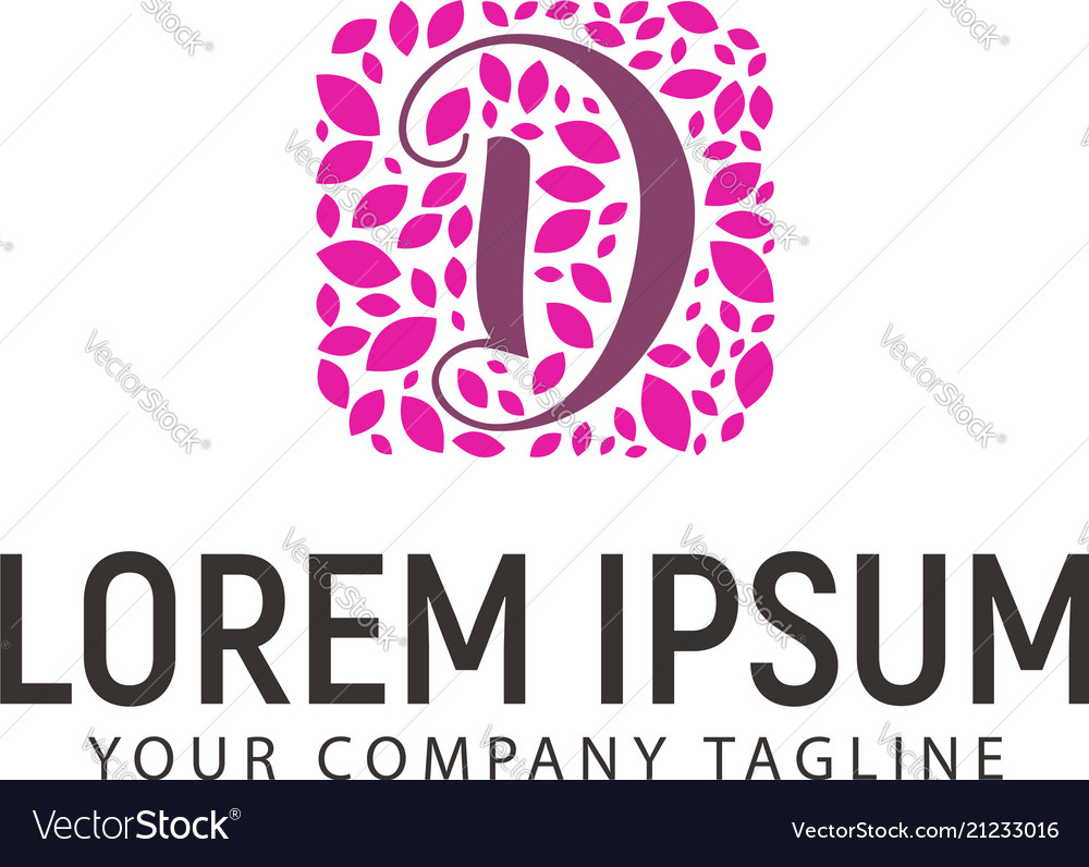 Letter D With Leaf Decoration Logo Wedding Beauty Vector Image