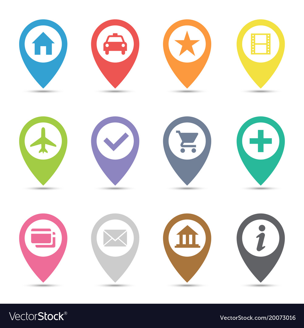 Map Pin Icon Map pin icon set Royalty Free Vector Image   VectorStock