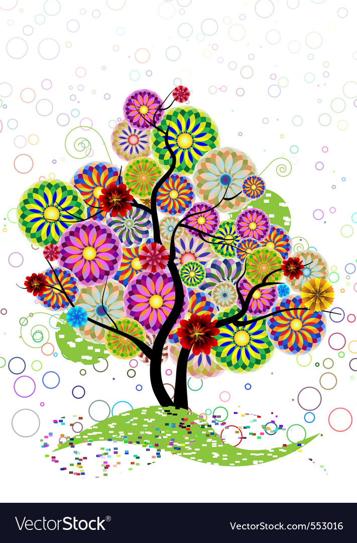 Ornamental tree of circles flowers and curled on a