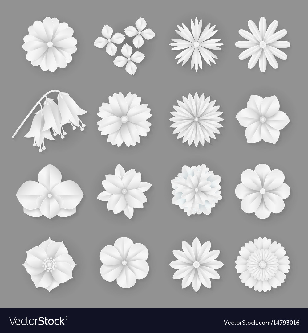 Paper Flowers Set 3d Origami Abstract Royalty Free Vector