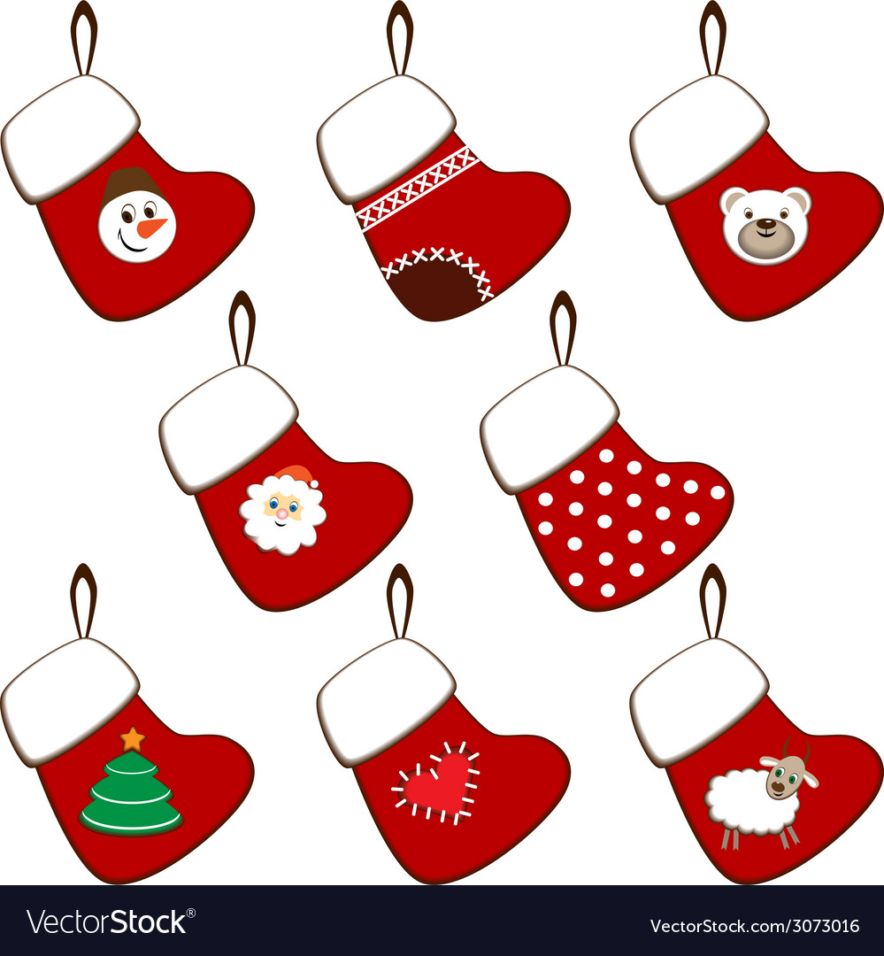 Set of Christmas stockings Royalty Free Vector Image