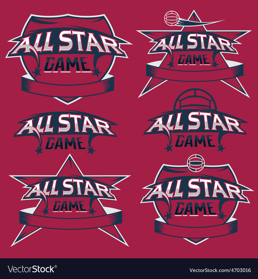 Set of vintage sports all star crests with soccer