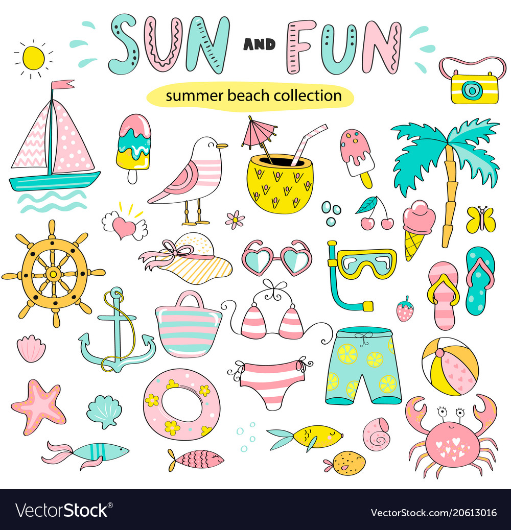 Summer set of sun and fun hand drawn elements