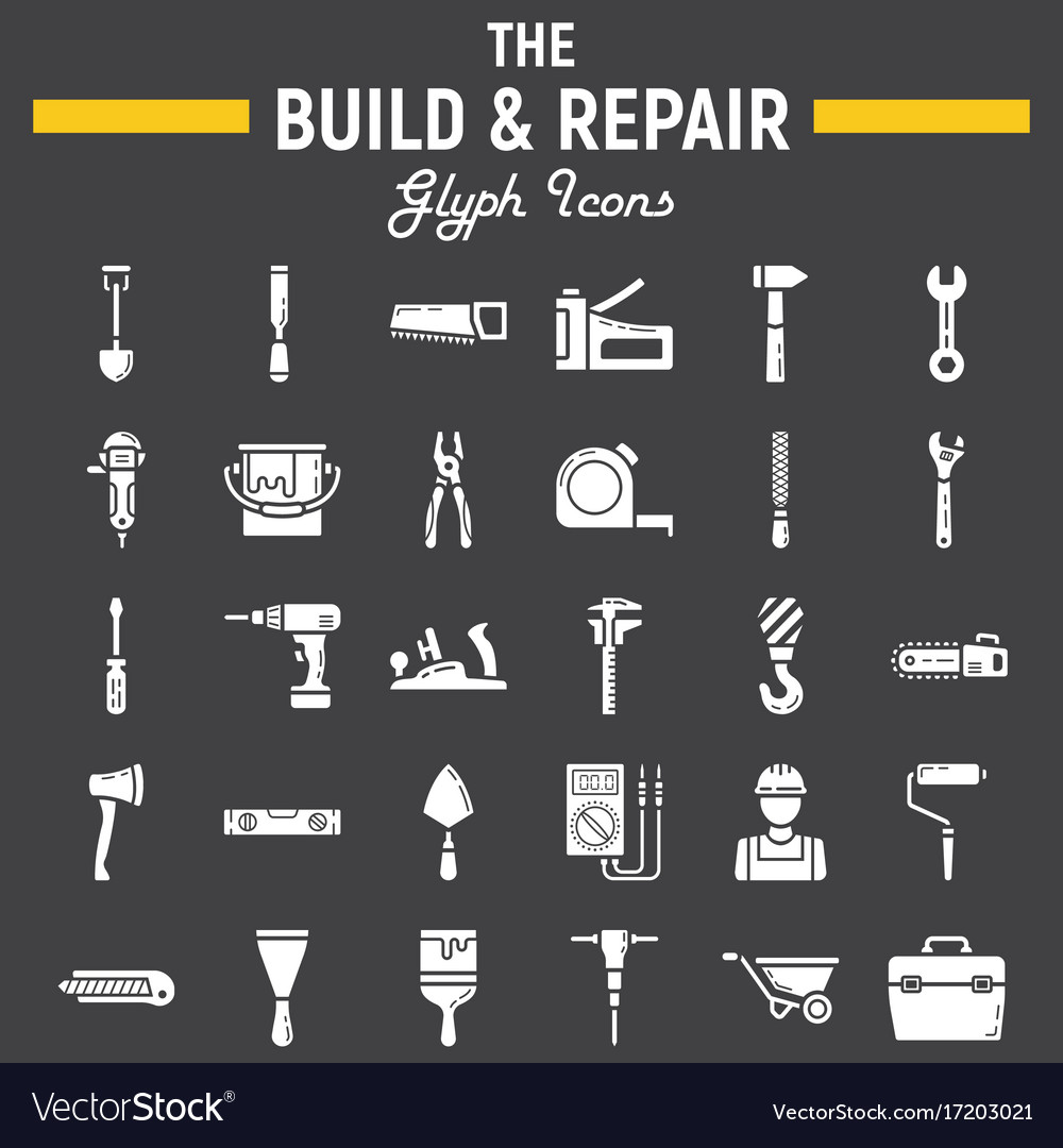 Build and repair glyph icon set construction sign
