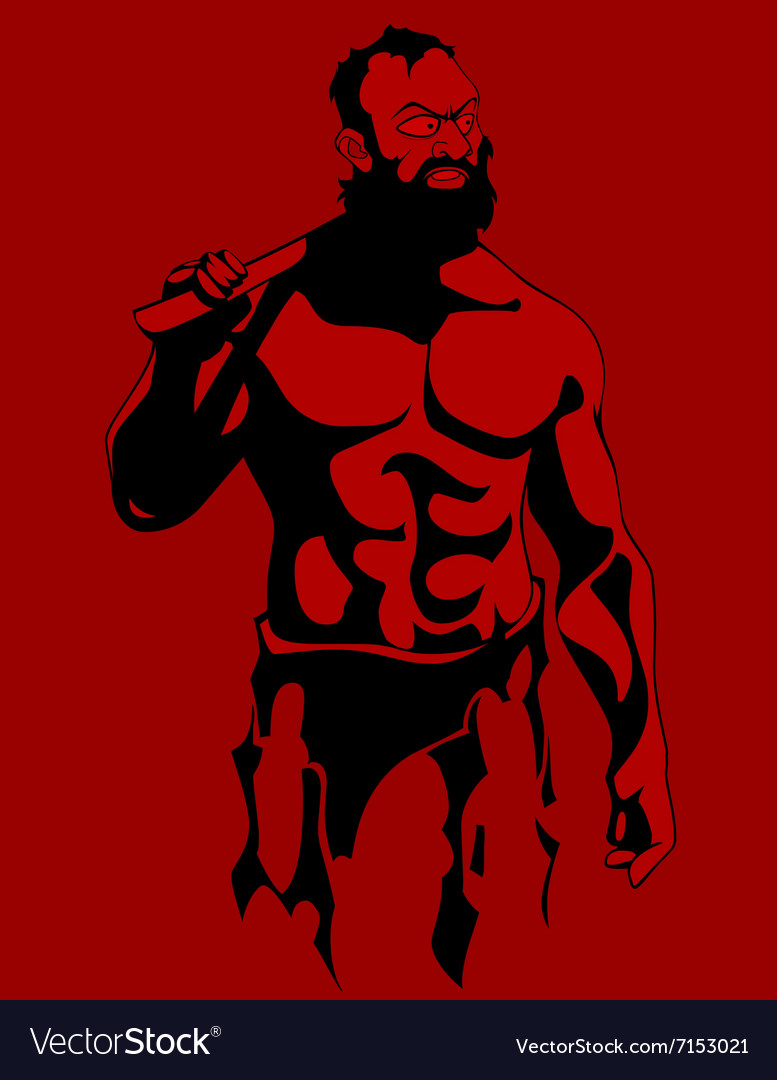 Cartoon drawing of a muscular serious bearded man vector image