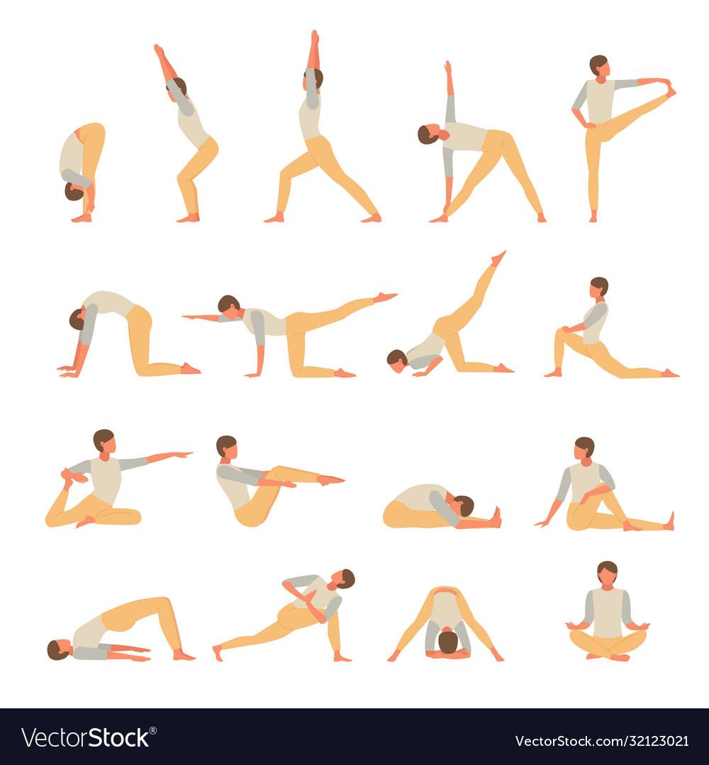 Female character engaged fitness yoga set girl