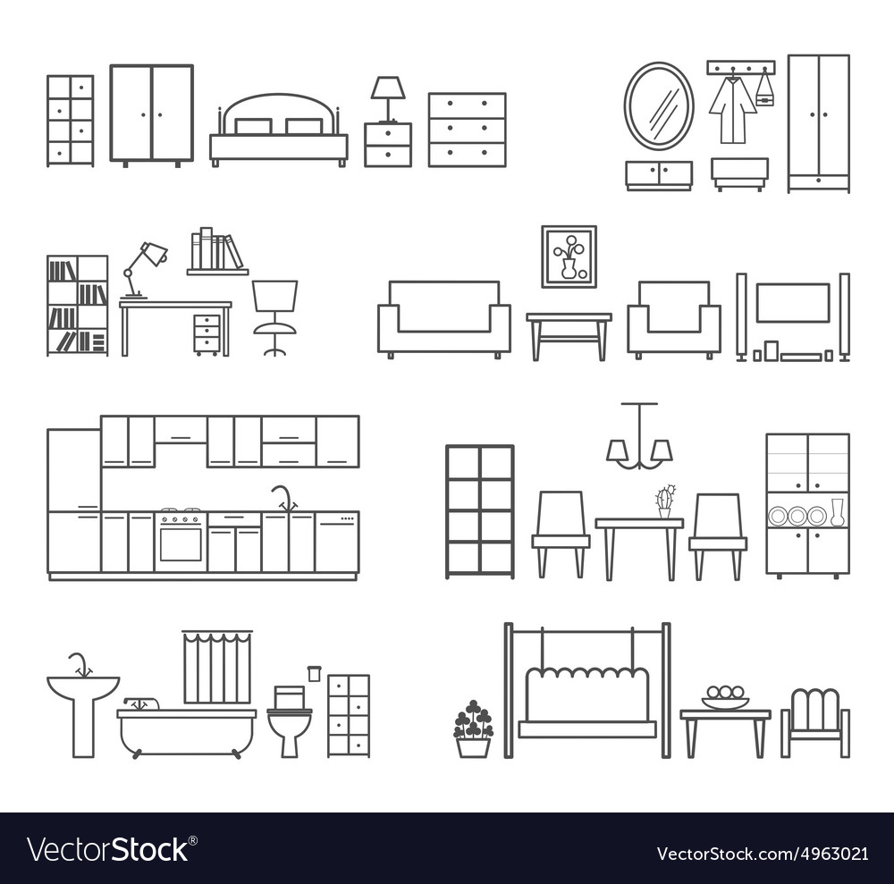 Home related icons Furniture for different rooms