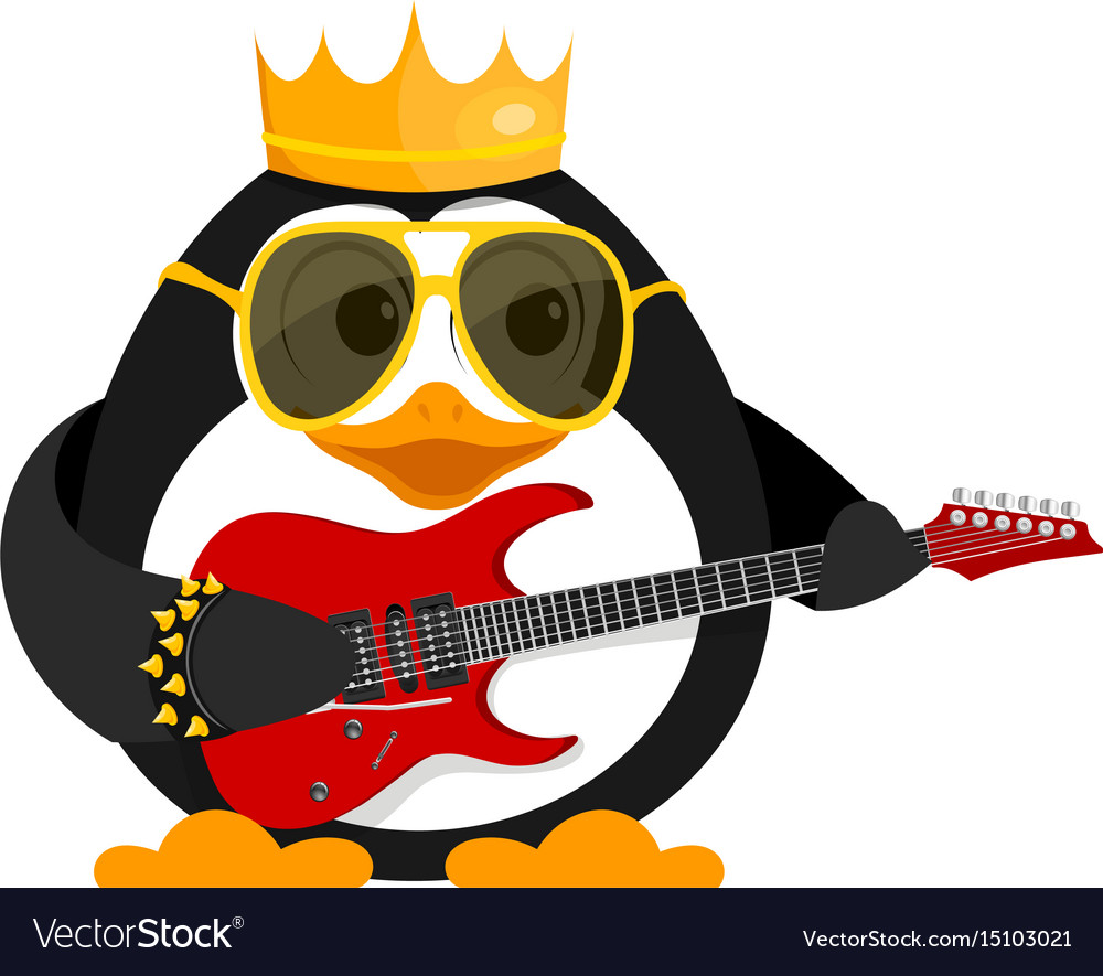 Lovely young penguin with a guitar and a bracelet