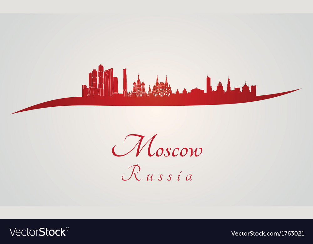 Moscow skyline in red vector image