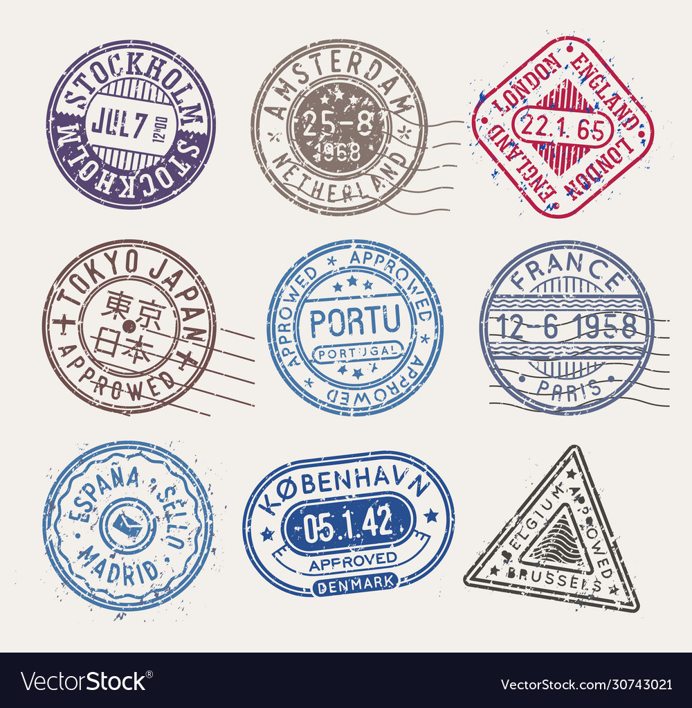 Postal stamps collection isolated stamps
