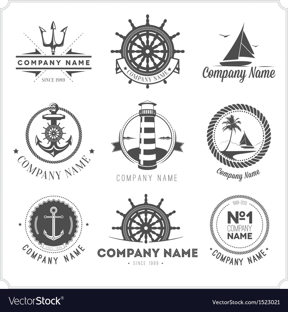 Set of vintage nautical labels icons and design