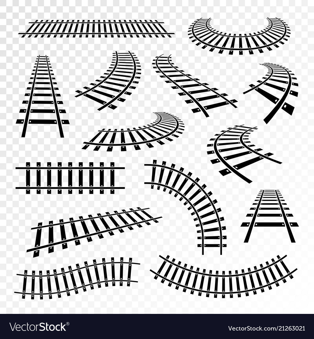 Straight and curved rails icon set