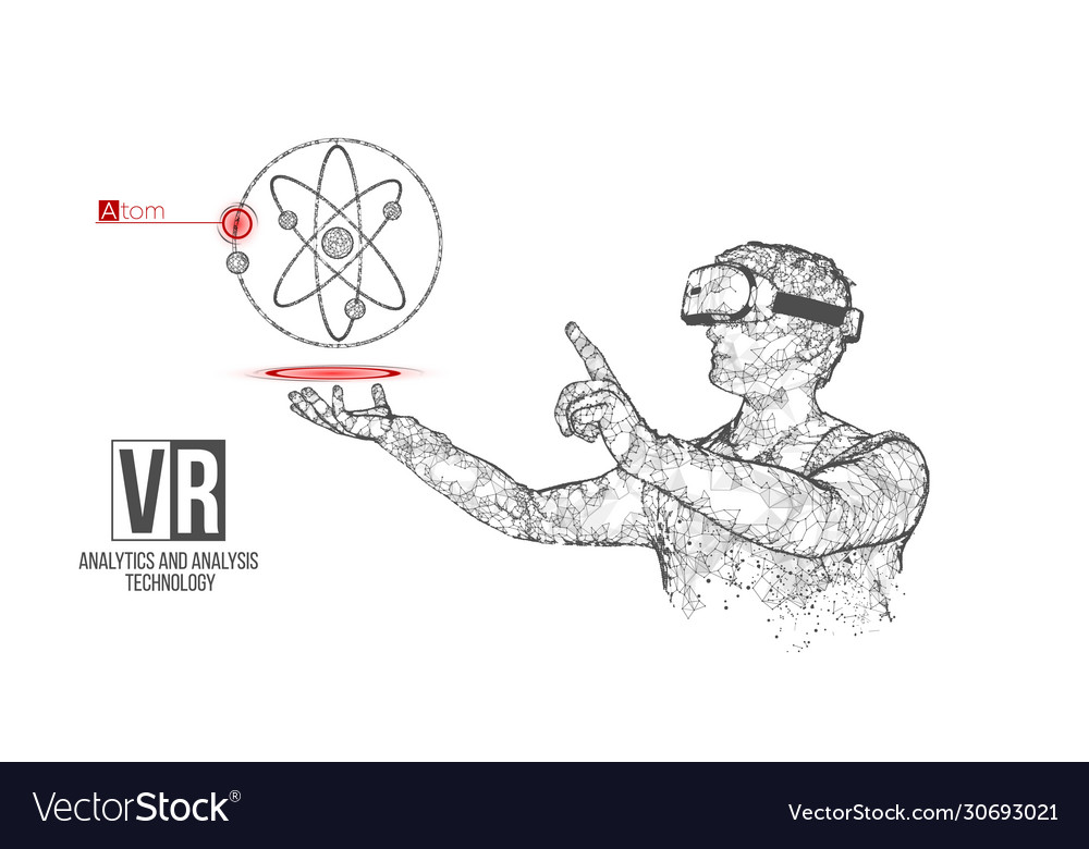 vr wireframe headset man with atom banner vector image  vectorstock