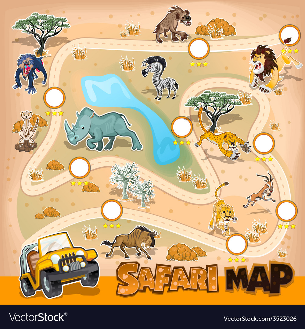 Map Of African Jungle.Africa Safari Map Wildlife Royalty Free Vector Image