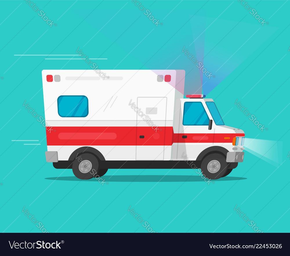 280a74f2dd61b1 Ambulance emergency car moving fast Royalty Free Vector