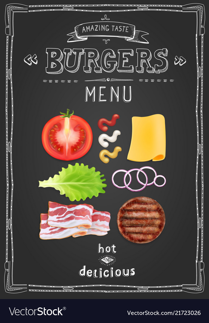 Cafe burgers menu food restaurant template design