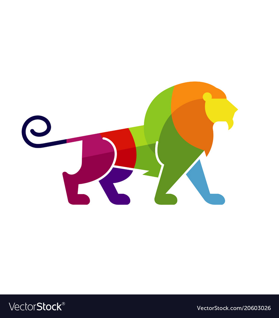 Creative abstract colorful lion logo